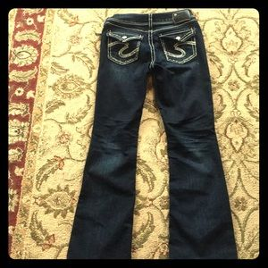 Silver silo flap dark jeans great condition